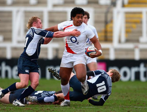Wrecking Ball: Manu Tuilagi, at the age of 17, goes through the Scottish defence during an under-18 international. The Leicester Tigers centre will be hoping to do similar damage against Ireland tomorrow. Photo: Getty Images