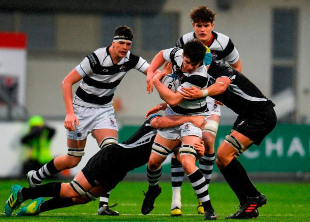 Aaron Coleman of Belvedere College is tackled by Gavin Meagher, left, and Lucas Culliton of Cistercian College Roscrea. Photo: Eóin Noonan/Sportsfile