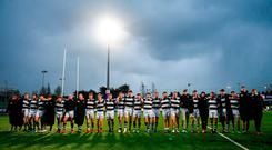 Belvedere College celebrate at the end of the game. Photo: Eóin Noonan/Sportsfile
