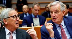Key voices: EC President Jean-Claude Juncker and EU Chief Brexit Negotiator Michel Barnier in Brussels on Wednesday. Photo: Reuters