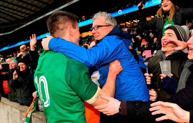 Jonathan Sexton and his Godfather Billy Keane. Photo: Ramsey Cardy/Sportsfile
