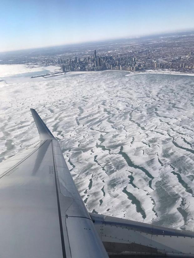 A view of frozen Lake Michigan during the polar vortex is seen from an airplane in Chicago, Illinois Photo: Twitter
