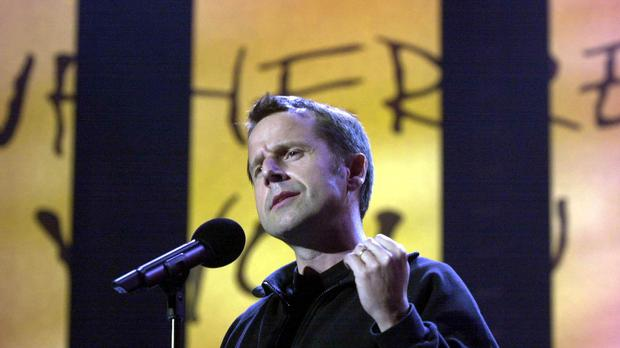 File photo dated 03/06/2001 of Jeremy Hardy performing on stage during the 'We Know Where You Live. Live!' event to mark the 40th anniversary of Amnesty International at Wembley Arena, the comedian has died of cancer, his publicist Amanda Emery said.