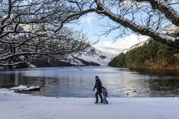 Icy beauty: Sunshine and snow at the Upper Lake, Glendalough, Co Wicklow. Photograph: Garry O'Neill