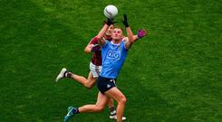 Galway's Eoghan Kerin attempts to dispossess Ciarán Kilkenny of Dublin during last year's All-Ireland SFC semi-final. Photo: Daire Brennan/Sportsfile