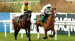 Supasundae, with Robbie Power up, gets the better of Faugheen (right) on his way to winning last year's Irish Champion Hurdle at Leopardstown. Photo: David Fitzgerald/Sportsfile