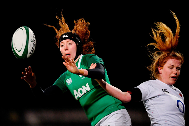 Aoife McDermott of Ireland in action against Catherine ODonnell of England. Photo by Ramsey Cardy/Sportsfile
