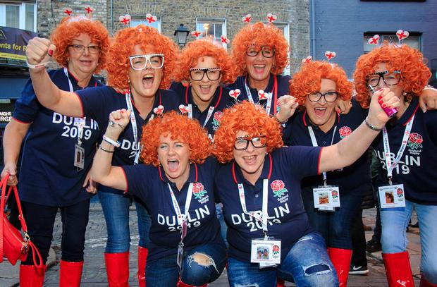 Hopefuls: English rugby fans including, far left, Suzanne Snaith and sister Pauline Robinson and pals from Yorkshire. Picture: Caroline Quinn