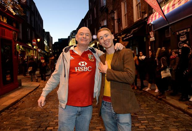Steven Rose and his son Liam, from Coventry, in Dublin yesterday. Picture: Caroline Quinn