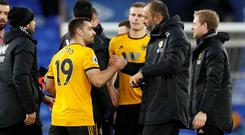 Wolverhampton Wanderers manager Nuno Espirito Santo celebrates with Jonny Castro at the end of the match