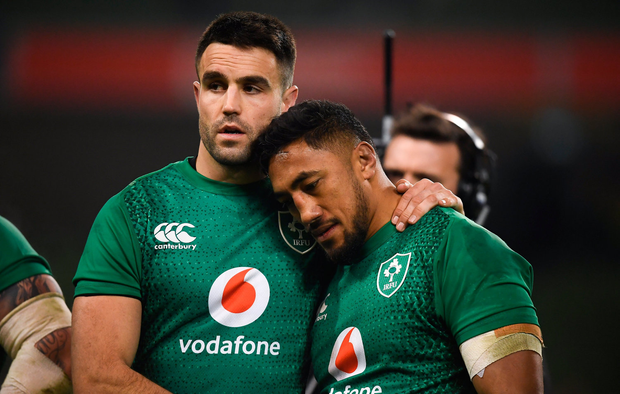 Conor Murray left and Bundee Aki of Ireland following defeat to England