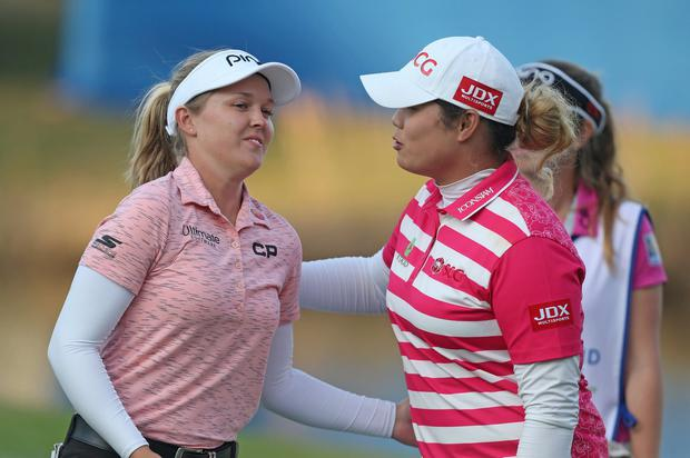 Thailand's Ariya Jutanugarn (right) is using power to dominate, and I see a tremendous future for Brooke Henderson (left). She's got a great swing and is not afraid to hit the ball'. Photo: Matt Sullivan/Getty Images