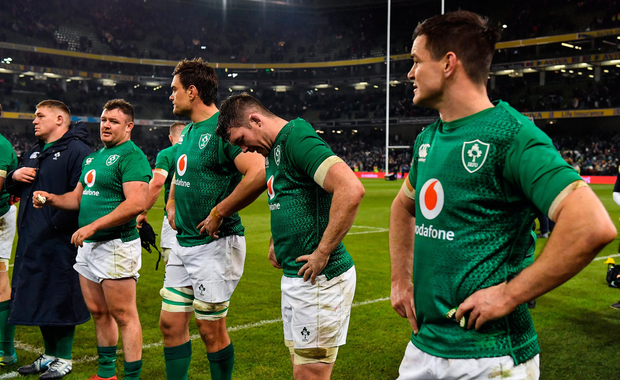 Ireland players, from left, Dave Kilcoyne, Quinn Roux, Peter O'Mahony and Jonathan Sexton after defeat to England