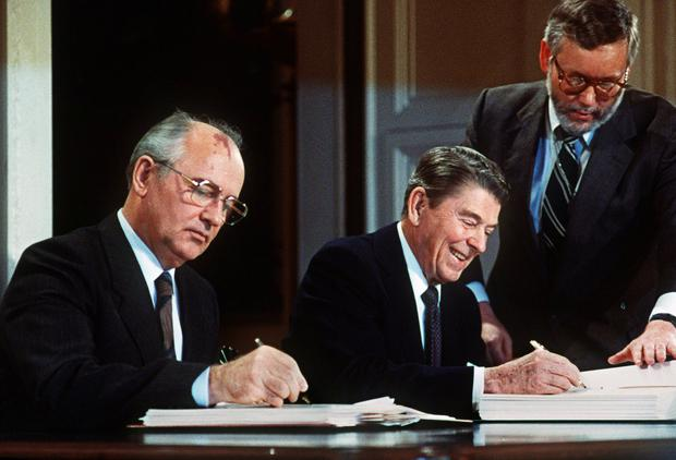 THE NUCLEAR OPTION: The 1987 deal being signed by Gorbachev and Reagan. Photo: AFP/Getty