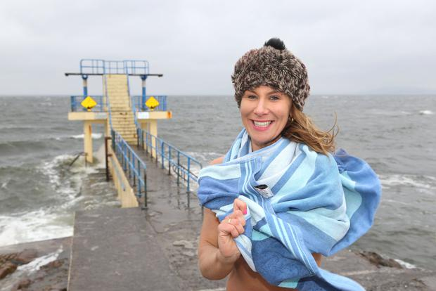 NO COLD FEET HERE: Lisa Regan (33) prepares to take the plunge into the icy waters of Galway Bay at Blackrock in Salthill. Photo: Andrew Downes