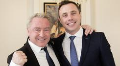 Michael Flatley and Tommy Bowe at the Ireland Funds annual Rugby Lunch in Dublin's Shelbourne Hotel. Picture: David Conachy