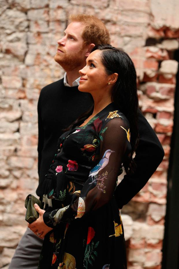 Britain's Meghan, Duchess of Sussex (R) and Britain's Prince Harry, Duke of Sussex visit Bristol Old Vic theatre in Bristol, south-west England on February 1, 2019