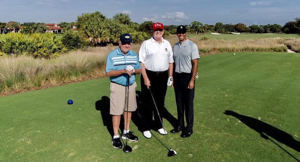 Donald Trump with Jack Nicklaus and Tiger Woods. Pic: @realDonaldTrump