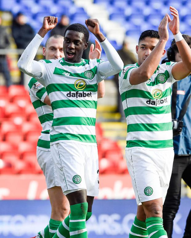 Celtic's Timothy Weah, Scott Brown and Emilio Izaguirre celebrate