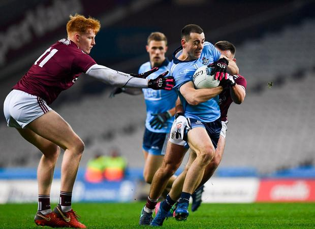 IMPRESSIVE: Dublin's Cormac Costello breaks past Galway's Peter Cooke (left) and Cillian McDaid during Saturday night's Allianz FL Division 1 clash at Croke Park. Photo: Harry Murphy/Sportsfile