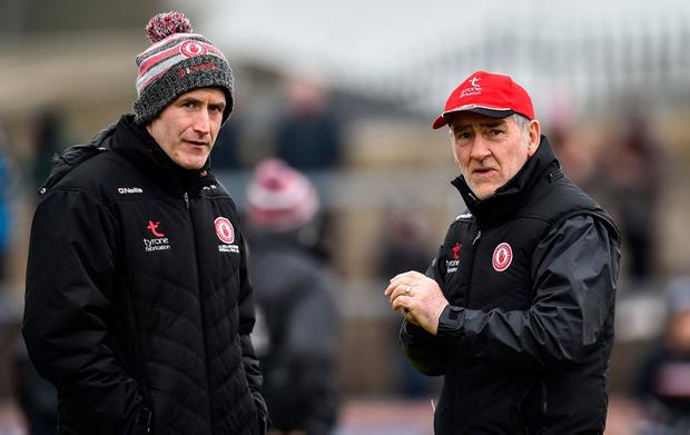 Tyrone manager Mickey Harte, right, and forwards coach Stephen O'Neill. Photo: Oliver McVeigh/Sportsfile