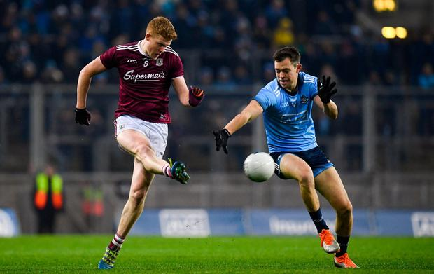 Kieran Duggan sends the ball forward for Galway. Photo: Harry Murphy/Sportsfile