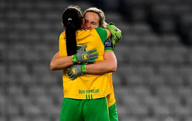 Donegal's Karen Guthrie (r) celebrates with Katy Herron. Photo: Harry Murphy/Sportsfile