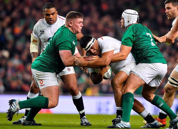 On the charge: England's Mako Vunipola takes on Rory Best (right) and Tadhg Furlong. Photo: Brendan Moran/Sportsfile