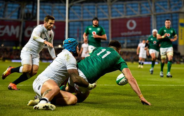 An error from Jacob Stockdale led to Elliot Daly scoring England's second try. Photo: David Fitzgerald/Sportsfile