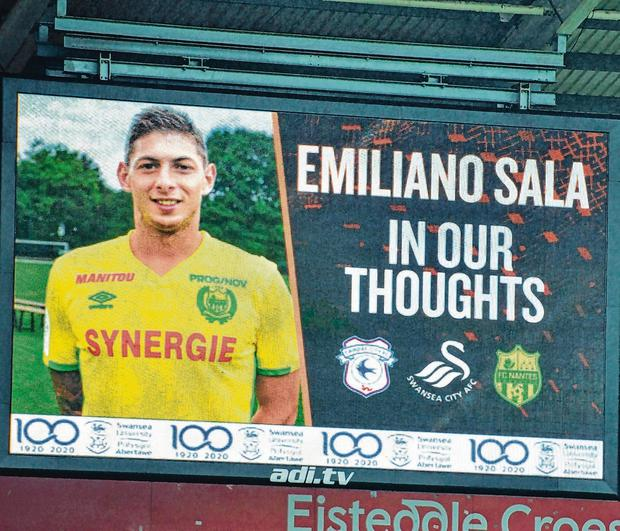 Sympathy: A tribute show to Emiliano Sala on the big screen during Cardiff's game in the FA Cup at Swansea's stadium last week. Photo: Simon Galloway/PA Wire.
