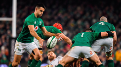 Kicking king: Conor Murray prepares to launch another box kick as Ireland's forwards secure the space during Saturday's defeat to England at the Aviva Stadium Photo: Brendan Moran/Sportsfile