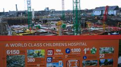 Construction works at the site of the new hospital