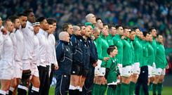 Ireland and England line up for the national anthems prior to the Guinness Six Nations. Photo by Dan Mullan/Getty Images