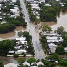 An aerial view shows flood waters in the suburb of Hyde Park, Townsville, North Queensland, Australia, February 4, 2019. AAP Image/Dave Acree/via REUTERS