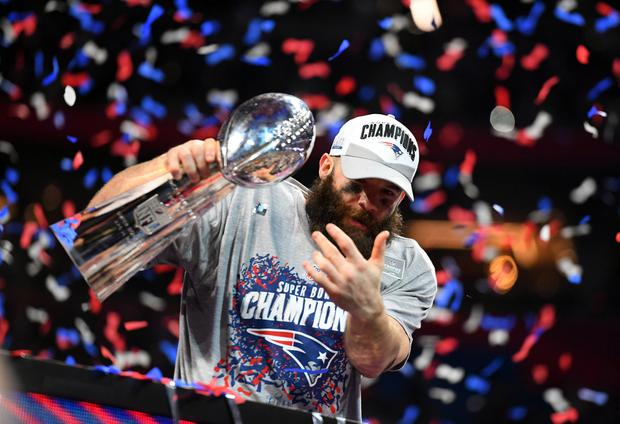 New England Patriots wide receiver Julian Edelman (11) with the Vince Lombardi Trophy after winning Super Bowl LIII against the Los Angeles Rams at Mercedes-Benz Stadium. Mandatory Credit: Christopher Hanewinckel-USA TODAY Sports