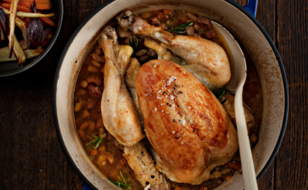 Pot Roast Chicken with Smoky Bacon and Beans