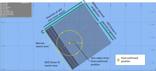 Handout image issued by the Air Accidents Investigation Branch showing the position where the wreckage of the plane which was carrying Cardiff City footballer Emiliano Sala was discovered in the English Channel. AAIB/PA Wire
