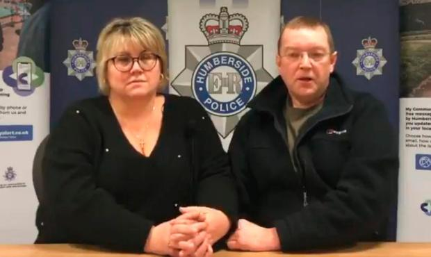 Humberside Police handout video grab of the parents of student Libby Squire, Lisa and Russell Squire, making an emotional appeal for help in finding her. Humberside Police/PA Wire