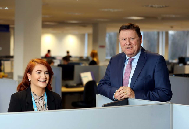 CEO of Sedgwick, Malcolm Hughes, is pictured with Georgina Vincent, team member at Sedgwick