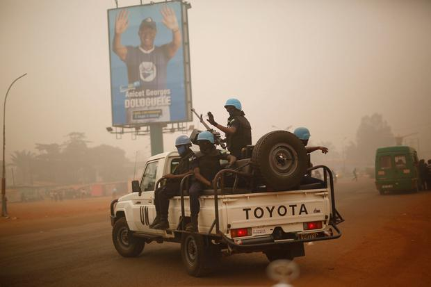 UN forces from Rwanda patrol the streets of Bangui, Central African Republic. Image: AP Photo/Jerome Delay