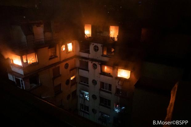 A residential building is engulfed in flames in Paris, France Feburary 5, 2019 in this image obtained from social media. B. Moser/Brigade des Sapeurs-Pompiers de Paris (BSPP) via REUTERS