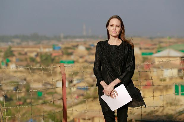 Hollywood actress Angelina Jolie prepares to address a press conference at Kutupalong refugee camp in Cox's Bazar, Bangladesh, Tuesday, Feb. 5, 2019
