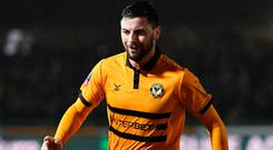 NEWPORT, WALES - FEBRUARY 05: Padraig Amond of Newport County celebrates after scoring his sides second goal during the FA Cup Fourth Round Replay match between Newport County AFC and Middlesbrough at Rodney Parade on February 05, 2019 in Newport, United Kingdom. (Photo by Stu Forster/Getty Images)