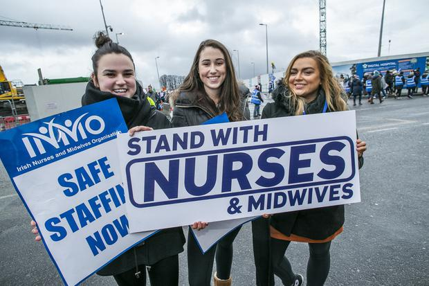 Taking a stand: Julianna Dowling (24), from Malahide, Rachael Lawless (23), from Sutton, and Rachel Griffith (24), from Finglas, at St James's Hospital, Dublin. Photo: Kyran O'Brien