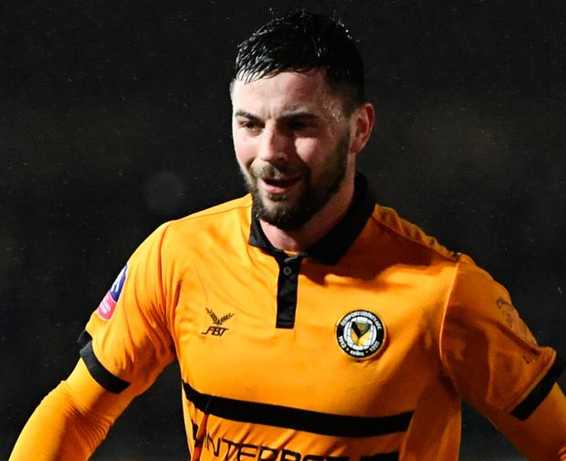 Padraig Amond celebrates after scoring Newport's second goal. Photo: Getty Images