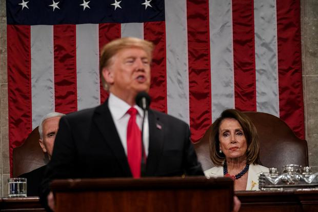 President Donald Trump delivered the State of the Union address, with Vice President Mike Pence and Speaker of the House Nancy Pelosi, at the Capitol in Washington, DC on February 5, 2019. Doug Mills/Pool via REUTERS