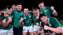 Ireland players celebrate after the U20 Six Nations Rugby Championship match between Ireland and England at Irish Independent Park in Cork. Photo by Matt Browne/Sportsfile