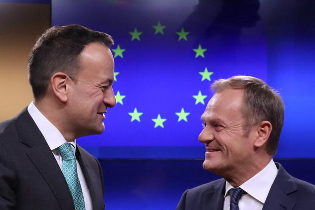 EU Council President Donald Tusk and Irish Prime Minister Leo Varadkar gesture as they give statements after a meeting at the European Council headquarters in Brussels, Belgium February 6, 2019. REUTERS/Yves Herman