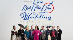 The cast of Four Weddings And A Funeral (L-R) Rowan Atkinson (Father Gerald), Kristin Scott Thomas (Fiona), Sophie Thompson (Lydia), John Hannah (Matthew), Andie MacDowell (Carrie), Hugh Grant (Charles), Anna Chancellor (Henrietta), David Haig (Bernard), James Fleet (Tom) reunited for One Red Nose Day And A Wedding Photo credit: Comic Relief/PA Wire