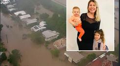 Flood damage in the Townsville area and inset, Catherine Simpson with her two daughters